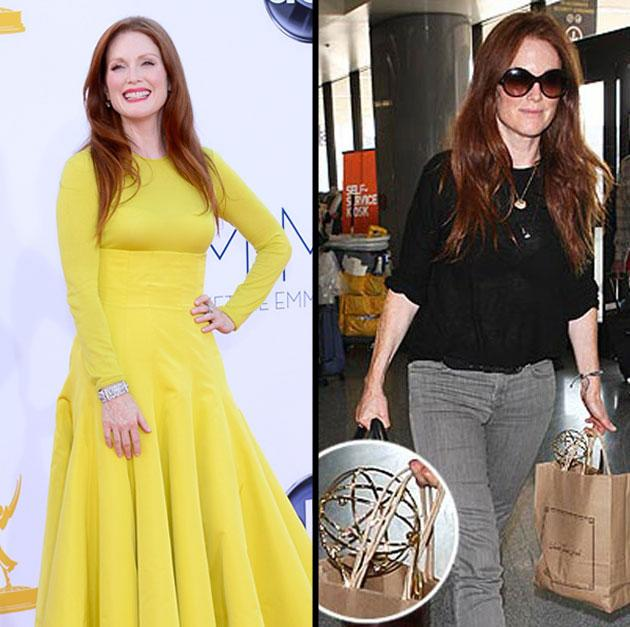 Emmy Awards: Julianne Moore lights up the red carpet in a yellow Christian Dior gown. Day after: Moore carries her Emmy in a paper bag as she leaves Los Angeles through LAX.
