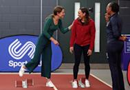 Kate and William are very competitive, so perhaps she was getting some speed tips from athlete Jessica Ennis-Hill (middle) at the London Stadium in east London in February 2020. (Yui Mok/AFP)