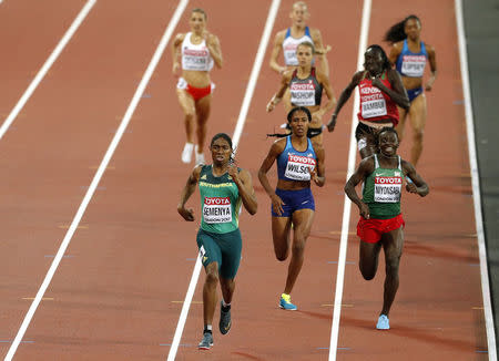 Athletics - World Athletics Championships - Women's 800 Metres - London Stadium, London, Britain – August 13, 2017. Caster Semenya of South Africa wins the final ahead of Francine Niyonsaba of Burundi and Ajee Wilson of the U.S. REUTERS/John Sibley