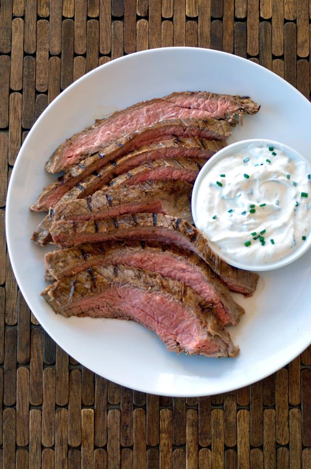"""<p> Who doesn't like a juicy, tender meat? The key to this recipe is the Greek yogurt, which the steak marinates in overnight to get its delicious taste. </p> <p><strong>Get the recipe</strong>: <a href=""""https://www.popsugar.com/food/Yogurt-Marinated-Flank-Steak-37354111"""" class=""""ga-track"""" data-ga-category=""""Related"""" data-ga-label=""""http://www.popsugar.com/food/Yogurt-Marinated-Flank-Steak-37354111"""" data-ga-action=""""In-Line Links"""">yogurt-marinated flank steak</a></p>"""