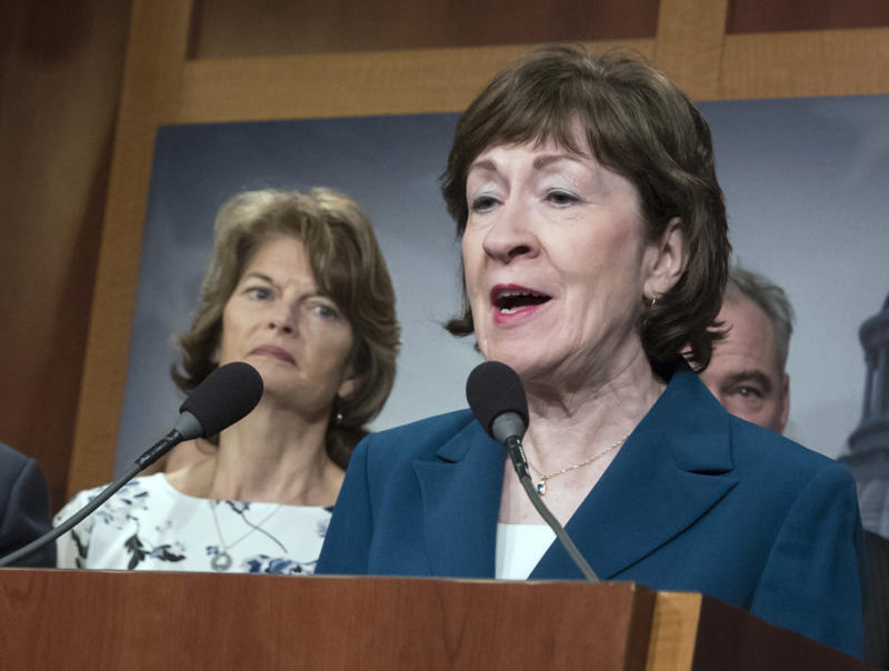 Sen. Susan Collins R Maine and Sen. Lisa Murkowski R-Alaska left are shown during a news conference at the Capitol in Washington. The Senate battle over Donald Trump's new Supreme Court nominee is off