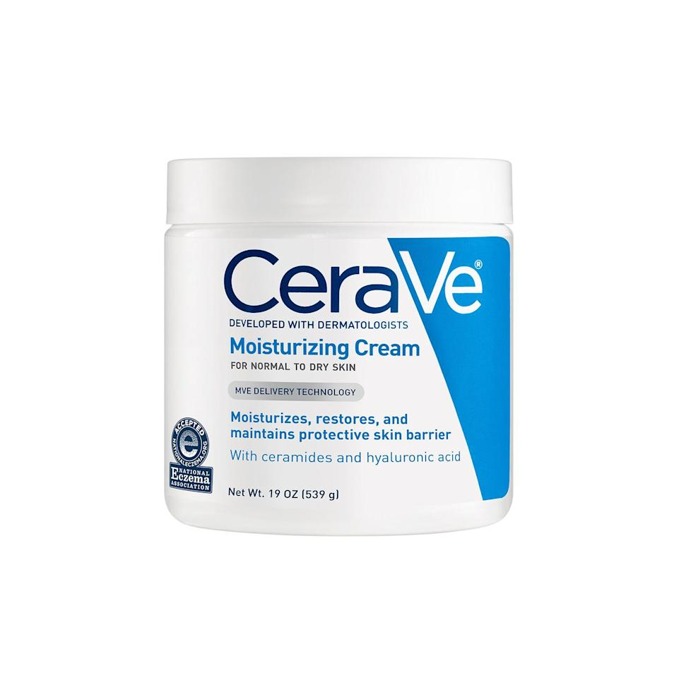 """<p><strong>CeraVe</strong></p><p>amazon.com</p><p><strong>$14.24</strong></p><p><a href=""""http://www.amazon.com/dp/B00TTD9BRC/?tag=syn-yahoo-20&ascsubtag=%5Bartid%7C2141.g.22736713%5Bsrc%7Cyahoo-us"""" target=""""_blank"""">SHOP NOW</a></p><p>""""<strong>Ceramides are an emollient that can help repair the skin barrier</strong> in conditions like <a href=""""https://www.prevention.com/beauty/skin-care/a25400326/eczema-on-face/"""" target=""""_blank"""">eczema</a>,"""" Dr. Feely says. They're the foundation of all CeraVe products, including their cult-favorite moisturizing cream, which was recommended by numerous dermatologists we talked to. The gentle, non-irritating formula works with all skin types, <a href=""""https://www.prevention.com/beauty/skin-care/g25292152/best-lotions-for-dry-skin/"""" target=""""_blank"""">can be used all over the body</a>, and is rich enough to seriously hydrate the most parched complexions. Bonus: You get a whopping 19 ounces of product in this tub!</p>"""