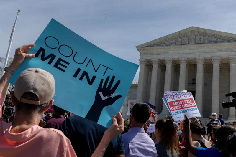 As the Supreme Court justices heard oral arguments over the 2020 census citizenship question, protesters gathered outside demanding to not include the controversial citizenship question in the next census. (NurPhoto via Getty Images)