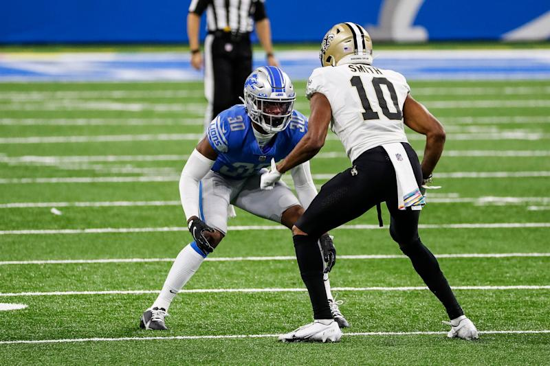 Detroit Lions cornerback Jeff Okudah defends New Orleans Saints receiver Tre'Quan Smith during the second half Sunday, October 4, 2020 at Ford Field.