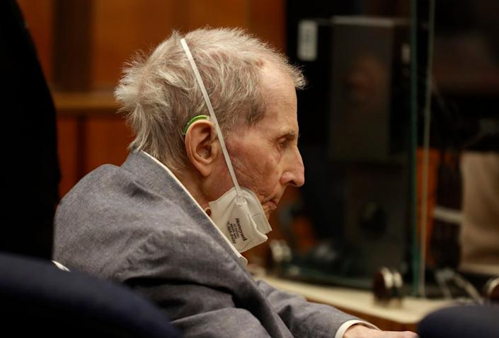 Robert Durst attends the closing arguments in his murder trial on 8 September.