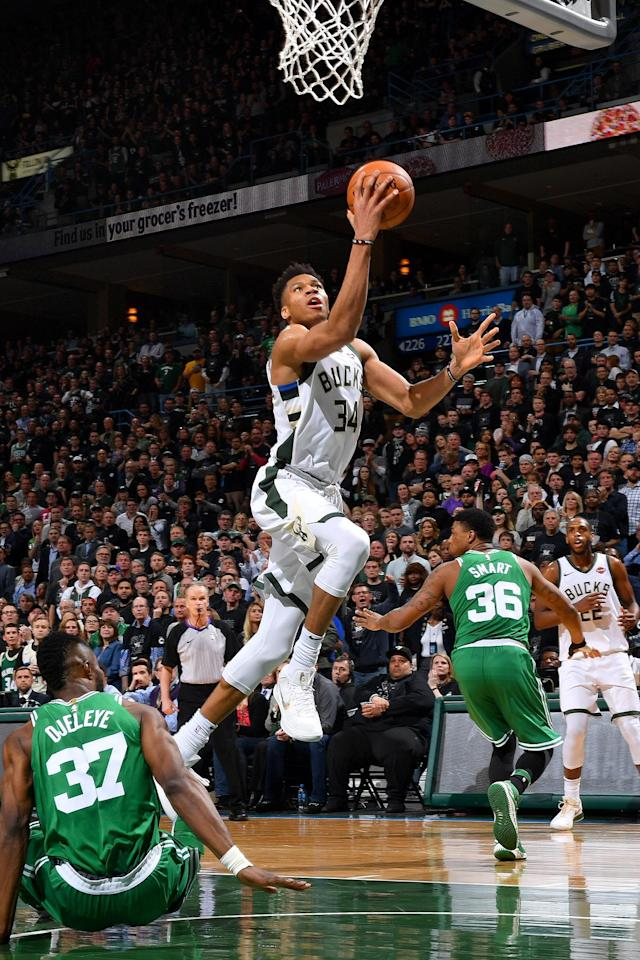 MILWAUKEE, WI - APRIL 26: Giannis Antetokounmpo #34 of the Milwaukee Bucks goes to the basket against the Boston Celtics in Game Six of Round One of the 2018 NBA Playoffs on April 26, 2018 at the BMO Harris Bradley Center in Milwaukee, Wisconsin. (Photo by Jesse D. Garrabrant/NBAE via Getty Images)