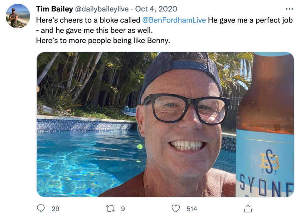 Tim Bailey tweets a photo of himself in a swimming pool holding a bottle of beer