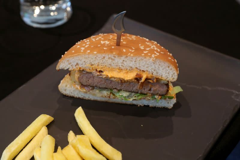 Plant-based burger is seen during the launch of Nestle R&D Accelerator in Konolfingen