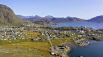 Aerial view of the town of Narsaq in southern Greenland