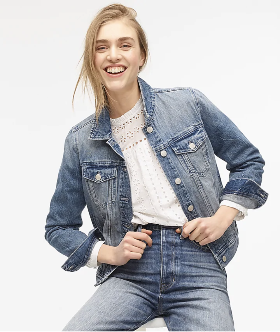 "<p><strong>J.Crew</strong></p><p>jcrew.com</p><p><strong>$110.00</strong></p><p><a href=""https://go.redirectingat.com?id=74968X1596630&url=https%3A%2F%2Fwww.jcrew.com%2Fp%2FAI670&sref=https%3A%2F%2Fwww.marieclaire.com%2Ffashion%2Fstreet-style%2Fg33444473%2Fbest-jean-jackets-for-women%2F"" rel=""nofollow noopener"" target=""_blank"" data-ylk=""slk:SHOP IT"" class=""link rapid-noclick-resp"">SHOP IT</a></p><p>Keep it simple with the timeless white tee. When the transition from winter to spring feels like a drag, you'll have this <a href=""https://www.jcrew.com/p/H5594"" rel=""nofollow noopener"" target=""_blank"" data-ylk=""slk:classic denim"" class=""link rapid-noclick-resp"">classic denim</a> to look forward to—always.</p>"