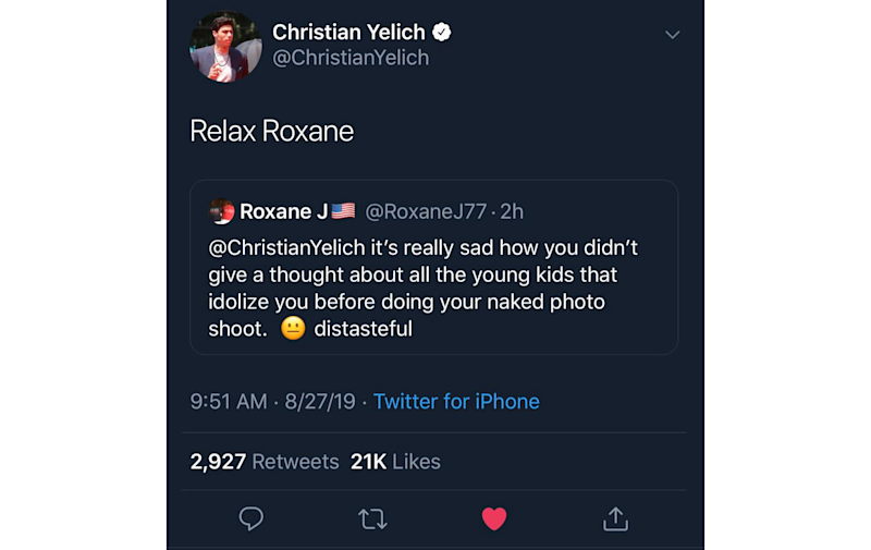 Christian Yelich's tweet at an upset Twitter user was shared more than 7,000 times. (Yahoo Sports)