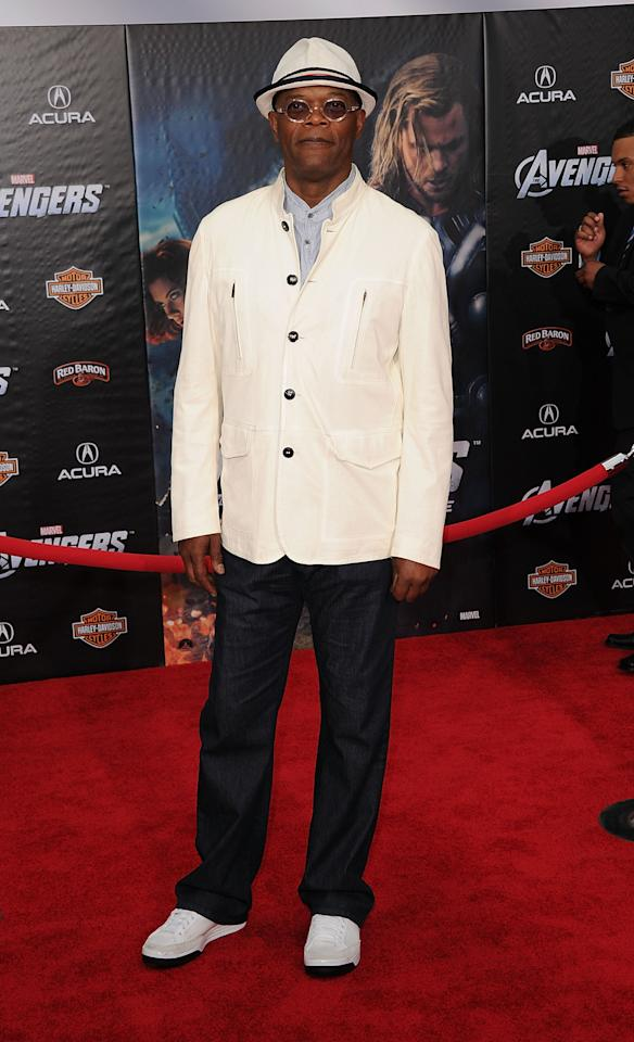 HOLLYWOOD, CA - APRIL 11:  Actor Samuel L. Jackson arrives at the premiere of Marvel Studios' 'The Avengers' at the El Capitan Theatre on April 11, 2012 in Hollywood, California.  (Photo by Jason Merritt/Getty Images)
