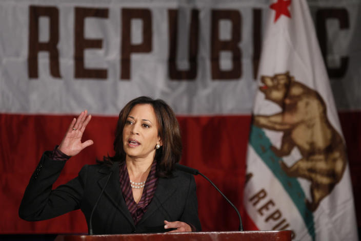 Kamala Harris gives her first news conference as California attorney general in 2010. (Damian Dovarganes/AP)