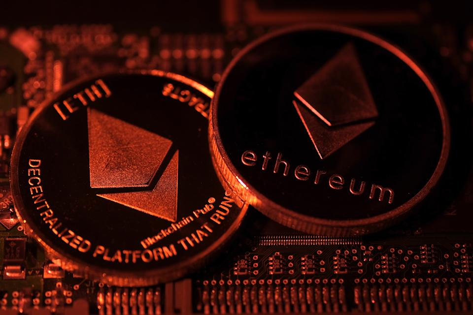 KATWIJK, NETHERLANDS - JANUARY 3: In this photo illustration, visual representations of digital cryptocurrency Ethereum (ETH) are arranged on a circuit board of a hard drive on January 3, 2021 in Katwijk, Netherlands.  (Photo by Yuriko Nakao/Getty Images)