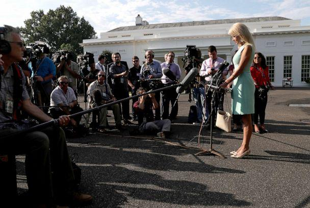 PHOTO: White House senior adviser Kellyanne Conway speaks to members of the news media at the White House, Aug. 19, 2019. (Leah Millis/Reuters)
