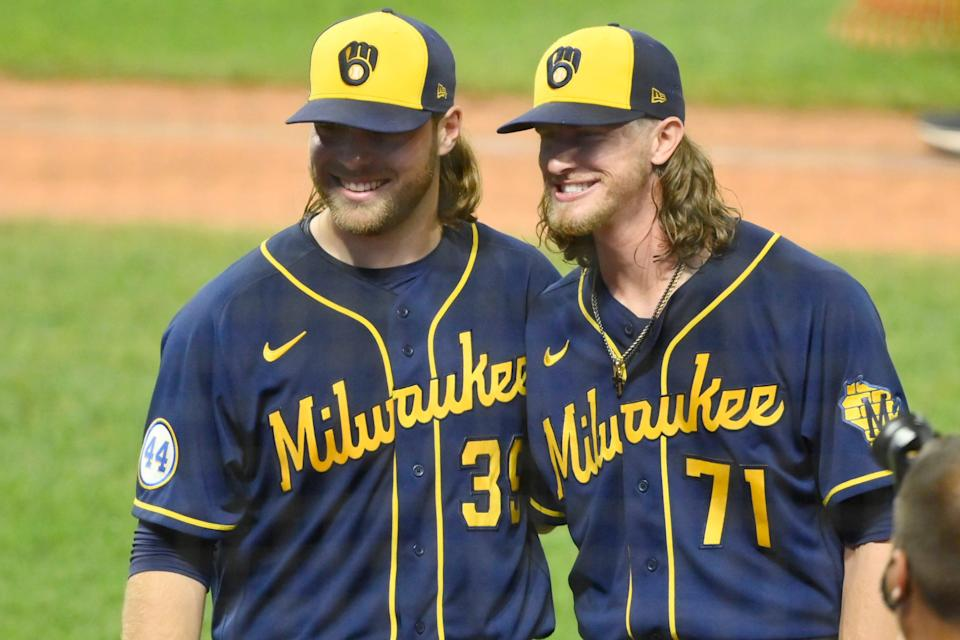Milwaukee Brewers starting pitcher Corbin Burnes and relief pitcher Josh Hader pose for a picture after they threw a combined no-hitter in a win against Cleveland at Progressive Field.