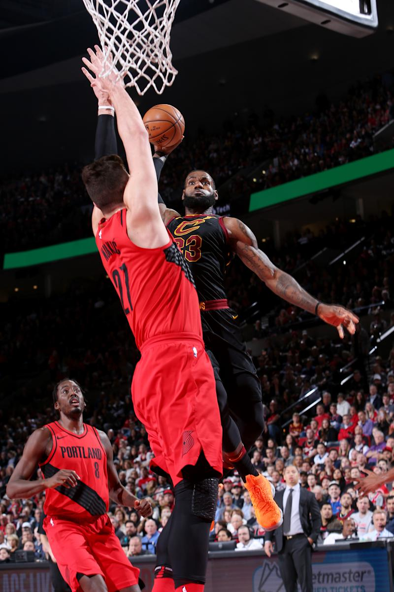 17d13bc1e84 LeBron James dunks the ball on Jusuf Nurkic. Man