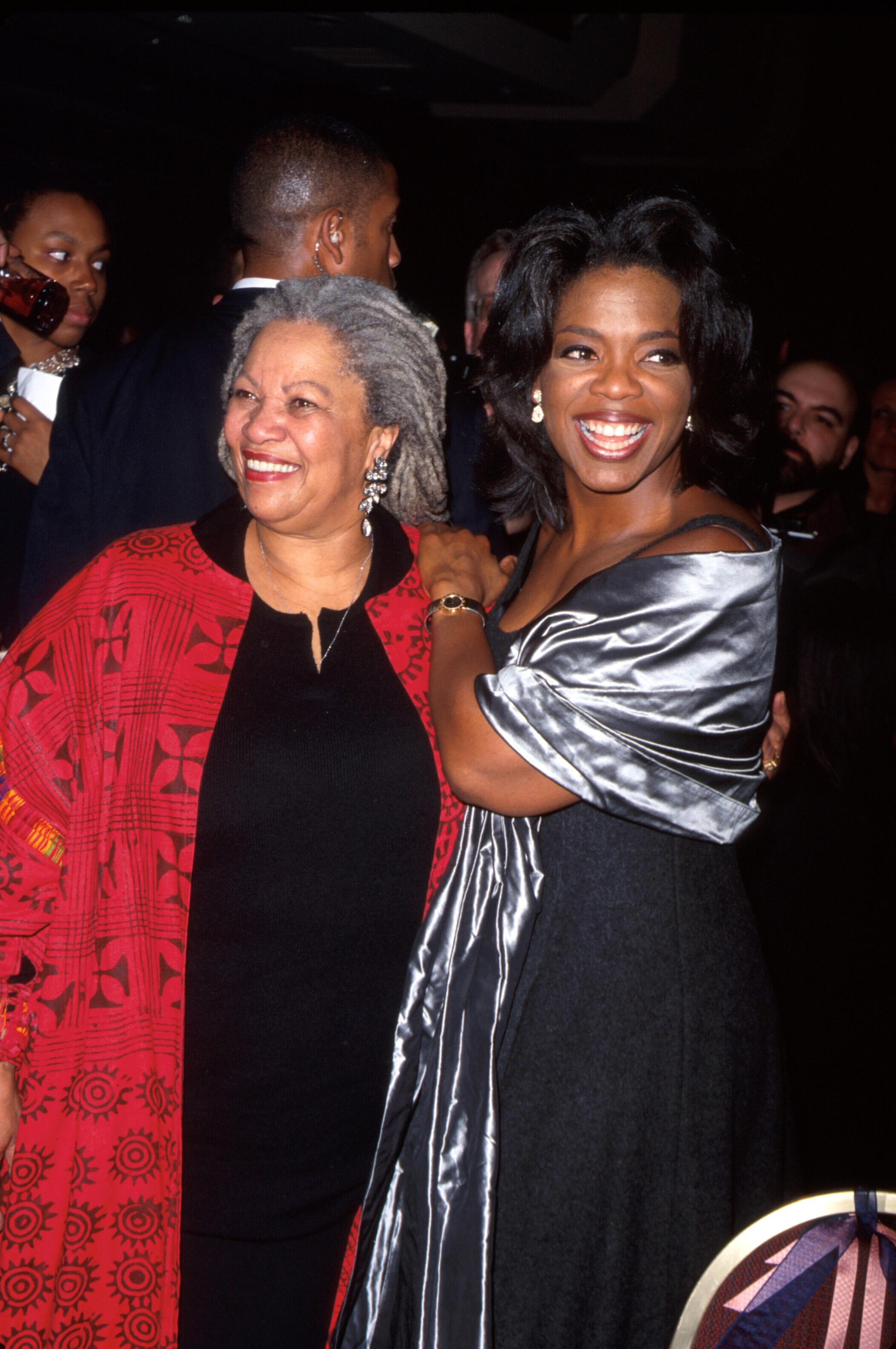 (L-R) Writer Toni Morrison and television personality Oprah Winfrey at film premiere of Winfrey's Beloved, based on Morrison's novel. (Photo by Marion Curtis/DMI/The LIFE Picture Collection via Getty Images)