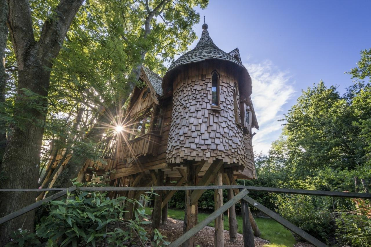 "<p>How about spending the night in your own fairytale tower? Tucked away in the South Downs foothills, <a href=""https://www.coolcamping.co.uk/campsites/uk/england/south-east-england/east-sussex/21-blackberry-wood"">Blackberry Wood</a> is a wacky camp site with a number of luxurious options including this treehouse. Perched in the treetops, it has its own kitchen, outside terrace with chimenea - and a shower located in the turret.There's a double bed and a snug loft bed and the place has a storybook feel thanks to the branches that twist their way inside. From £175 per night. Sleeps four.</p>"