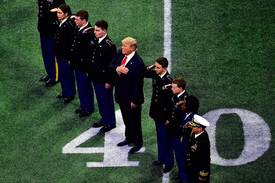 President Trump at the college football national championship in Atlanta. (Getty)