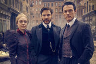 """<p><b>The one-sentence pitch:</b> Based on the Caleb Carr bestseller, this dark Gilded Age-set limited series follows a criminal psychologist (Daniel Bruhl), a newspaper illustrator (Luke Moore), and a police department secretary angling to become the first female detective (Dakota Fanning) as they work to solve a series of gruesome murders during one of New York's grittiest eras.<br><br><strong>What to expect:</strong> Part period piece, part serial-killer thriller, part procedural historical costume drama. """"First, you have the arena of New York at the end of the 19th century,"""" says executive producer-director Jakob Verbruggen (<em>Black Mirror</em>). """"It is about to become one of the most iconic cities in the world, but only if it can get through all of its difficulties of extreme poverty, crime, and corruption. You see real people from history like Theodore Roosevelt. And you have these misfit loners who have to work together and confront their inner demons and catch a killer. Through these characters, the audience witnesses the birth of CSI and profiling.""""<br><br><strong>Old English:</strong> Not only did Bruhl, who grew up in Germany, have to brush up on medical lingo and perfect his American accent, he also worked with a dialect coach to master an antiquated parlance """"It gets easier the more time you spend with it,"""" he says, """"but it was difficult to improvise because the danger is you would sound too modern."""" <em>— CB</em><br><br>(Photo: TNT) </p>"""