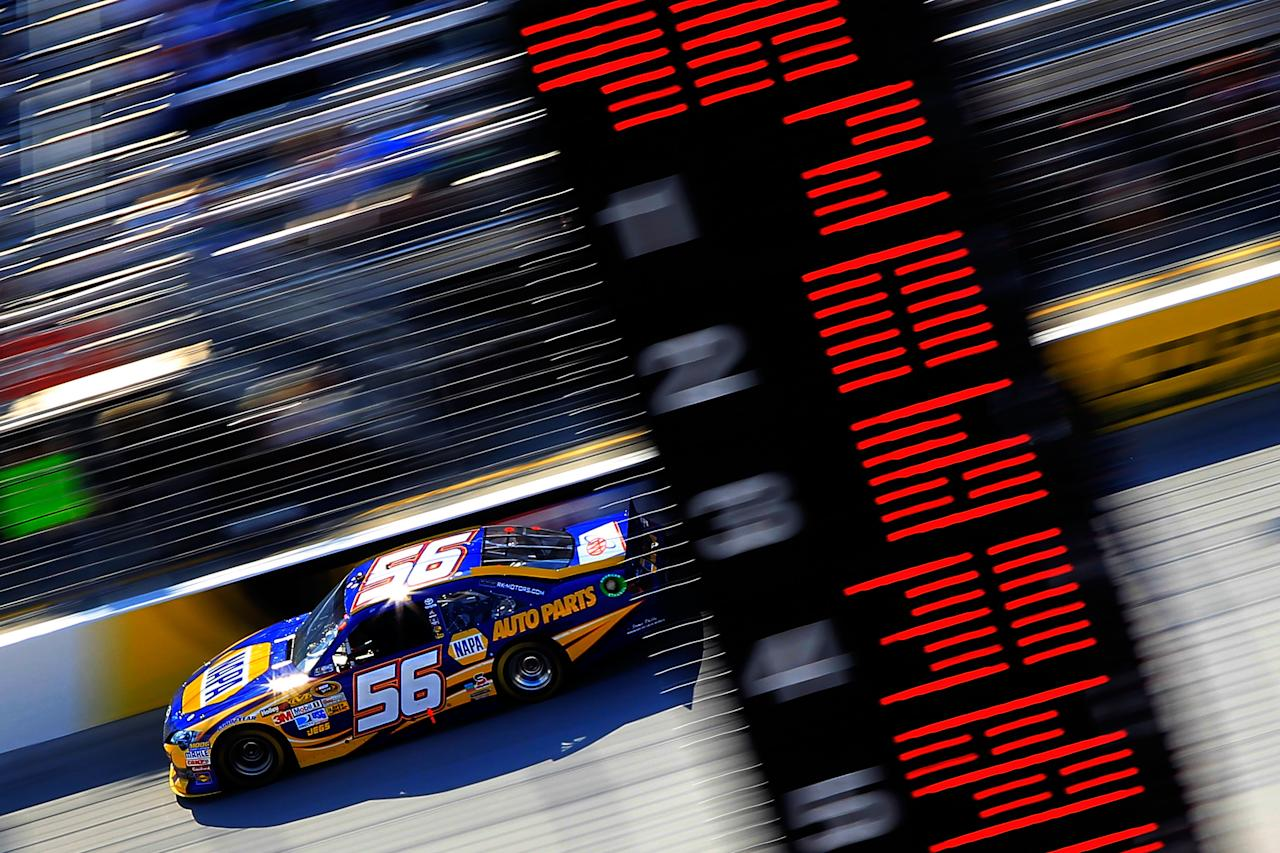 BRISTOL, TN - MARCH 18:  Martin Truex Jr., driver of the #56 NAPA Auto Parts Toyota, races during the NASCAR Sprint Cup Series Food City 500 at Bristol Motor Speedway on March 18, 2012 in Bristol, Tennessee.  (Photo by Chris Trotman/Getty Images)