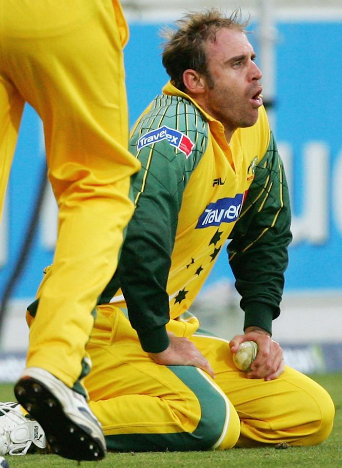 WELLINGTON, NEW ZEALAND - FEBRUARY 19:  Matthew Hayden of Australia shows his relief after taking a catch to dismiss Scott Styris of New Zealand during the 1st One Day International between New Zealand and Australia at Westpac Stadium on February 19, 2005 in Wellington, New Zealand  (Photo by Hamish Blair/Getty Images)