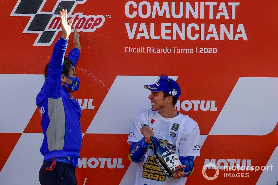 "Davide Brivio, Joan Mir, Team Suzuki MotoGP<span class=""copyright"">Gold and Goose / Motorsport Images</span>"