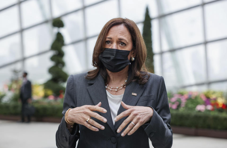 U.S. Vice President Kamala Harris takes questions from reporters as she visits the Flower Dome at Gardens by the Bay, following her foreign policy speech in Singapore, Tuesday, Aug. 24, 2021. (Evelyn Hockstein/Pool Photo via AP)