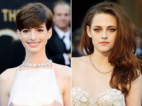 Kristen Stewart Explains Crutches, Foot Injury to Anne Hathaway Backstage at Oscars