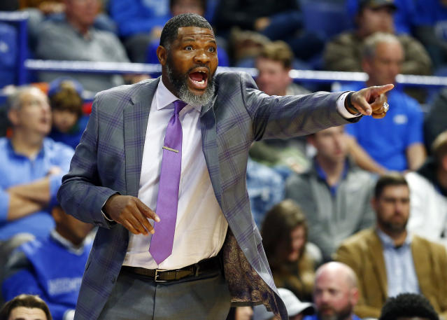 Walter McCarty, who starred for an iconic Kentucky champion, just coached one of the biggest upsets in Rupp Arena history. (AP Photo/James Crisp)