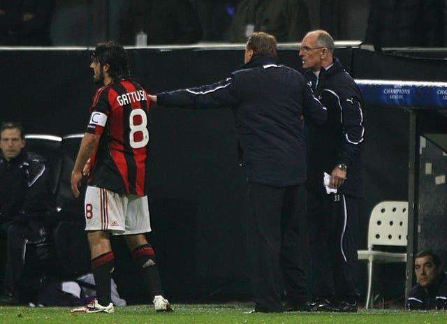 Gennaro Gattuso, left, and Joe Jordan had to be separated during a Champions League clash in 2011