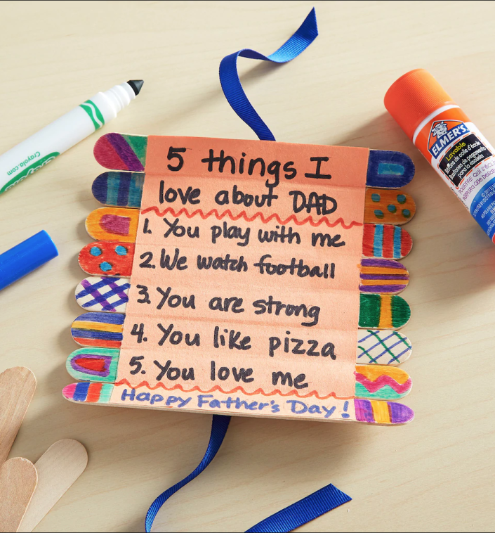 """<p>He could hang this card up in his office so all his coworkers know the coolest things about him. </p><p><em><a href=""""https://go.redirectingat.com?id=74968X1596630&url=https%3A%2F%2Fwww.michaels.com%2Ffathers-day-craft-stick-roll-up-card%2FB_66311.html%3Fcm_mmc%3DPaidSocial-_-Pinterest-_-FATHERSDAY-_-CraftStickRollupProject%26pp%3D1&sref=https%3A%2F%2Fwww.goodhousekeeping.com%2Fholidays%2Ffathers-day%2Fg19694848%2Ffathers-day-crafts-preschool%2F"""" rel=""""nofollow noopener"""" target=""""_blank"""" data-ylk=""""slk:Get the tutorial at Michaels »"""" class=""""link rapid-noclick-resp"""">Get the tutorial at Michaels »</a></em></p>"""
