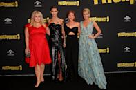 <p>The co-stars pose together on the black carpet. (Photo: Getty Images) </p>