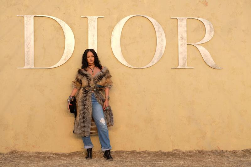 Rihanna Wore A Fur Jacket To Dior Show
