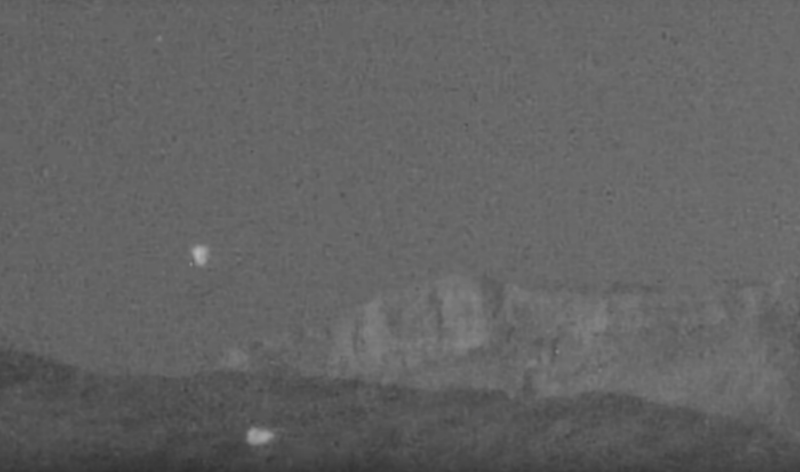 A UFO hunter filmed these objects at Red Rock Canyon. Photo: Youtube