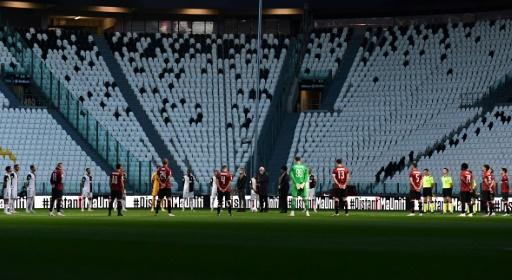 Players held a minute of silence for coronavirus victims prior to the Italian Cup semi-final second leg between Juventus vs AC Milan