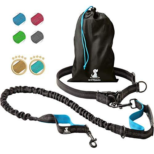 SparklyPets Hands-Free Dog Leash for Medium and Large Dogs - Professional Harness with Reflective Stitches for Training, Walking, Jogging and Running Your Pet (Blue) (Amazon / Amazon)