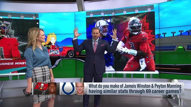 NFL Network's Shaun O'Hara evaluates the strikingly similar career stats for Tampa Bay Buccaneers quarterback Jameis Winston and former NFL QB Peyton Manning through the first 69 games of their careers.