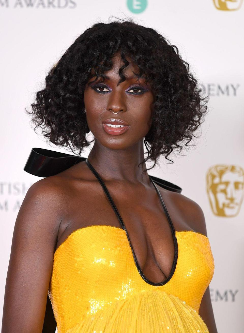 <p>Queen & Slim's Jodie Turner-Smith proves curly hair can work with a jaw-length bob and full fringe.</p>