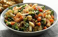 """<p>If you're looking for <a href=""""https://www.thedailymeal.com/recipes-weeknight-dinners-simple?referrer=yahoo&category=beauty_food&include_utm=1&utm_medium=referral&utm_source=yahoo&utm_campaign=feed"""" rel=""""nofollow noopener"""" target=""""_blank"""" data-ylk=""""slk:weeknight dinner ideas"""" class=""""link rapid-noclick-resp"""">weeknight dinner ideas</a> that are as nutritious as they are flavorful, look no further. The nutty flavor of the cauliflower complements the delicate and sweet flavor of the shrimp, resulting in a harmonious blend of both light and filling ingredients.</p> <p><a href=""""https://www.thedailymeal.com/recipes/cauliflower-shrimp-pub-salad?referrer=yahoo&category=beauty_food&include_utm=1&utm_medium=referral&utm_source=yahoo&utm_campaign=feed"""" rel=""""nofollow noopener"""" target=""""_blank"""" data-ylk=""""slk:For the Cauliflower and Shrimp Pub Salad recipe, click here."""" class=""""link rapid-noclick-resp"""">For the Cauliflower and Shrimp Pub Salad recipe, click here.</a></p>"""