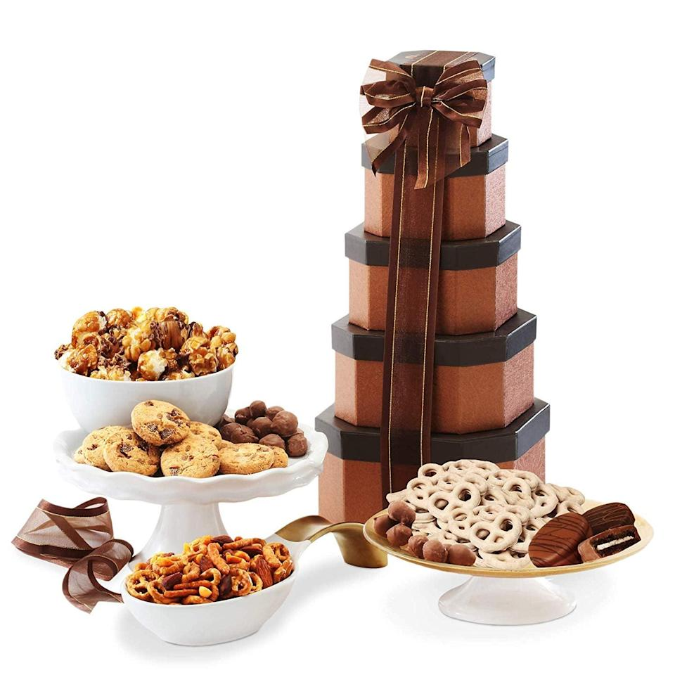 <p>You can't go wrong with this <span>Gift Tower of Sweets</span> ($28).</p>