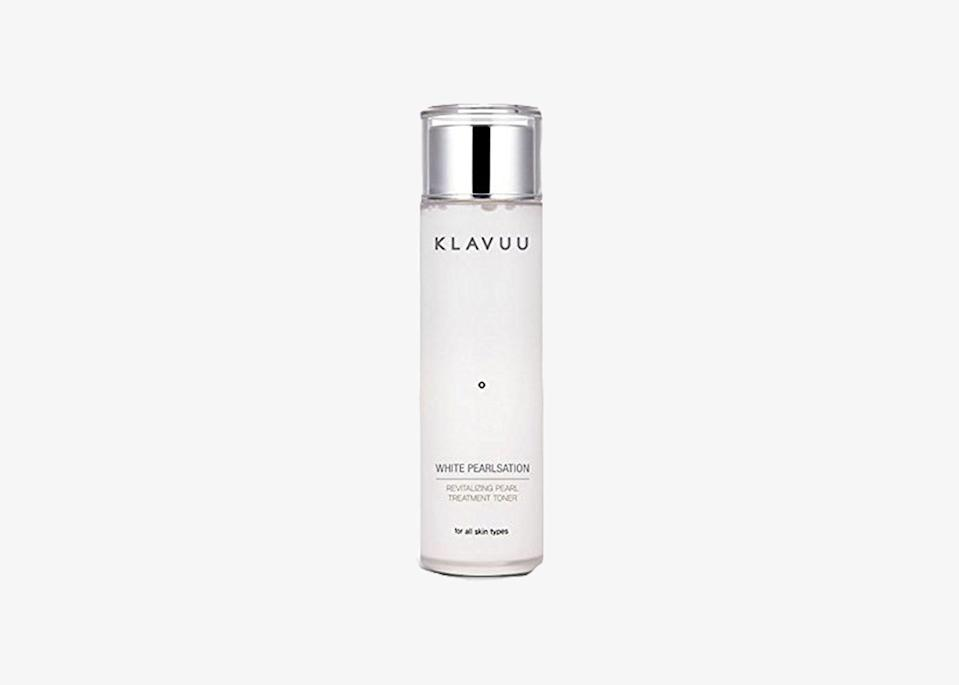"If you don't have a toner in your skincare line-up, consider adding this one by Klavuu. The milky pearl treatment toner removes the last traces of dirt and impurities stuck to your face after cleansing, helps smooth rough patches, tightens pores, and brightens skin. It's received rave reviews on Amazon and works well on all skin types. The best part? Unlike most toners, it will leave your skin feeling hydrated and soft. $35, Amazon. <a href=""https://www.amazon.com/KLAVUU-WHITE-PEARLSATION-Revitalizing-Treatment/dp/B01N0WUBWS/"" rel=""nofollow noopener"" target=""_blank"" data-ylk=""slk:Get it now!"" class=""link rapid-noclick-resp"">Get it now!</a>"