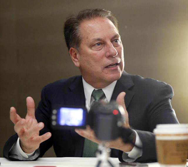 Michigan State head basketball coach Tom Izzo responds to a question during the Big Ten Conference NCAA college basketball media day Thursday, Oct. 31, 2013, in Rosemont, Ill. (AP Photo/Charles Rex Arbogast)