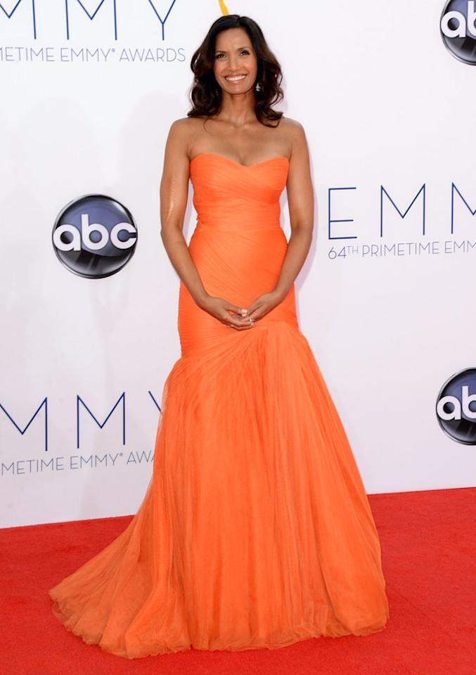 Padma Lakshmi arrives at the 64th Primetime Emmy Awards at the Nokia Theatre in Los Angeles on September 23, 2012.