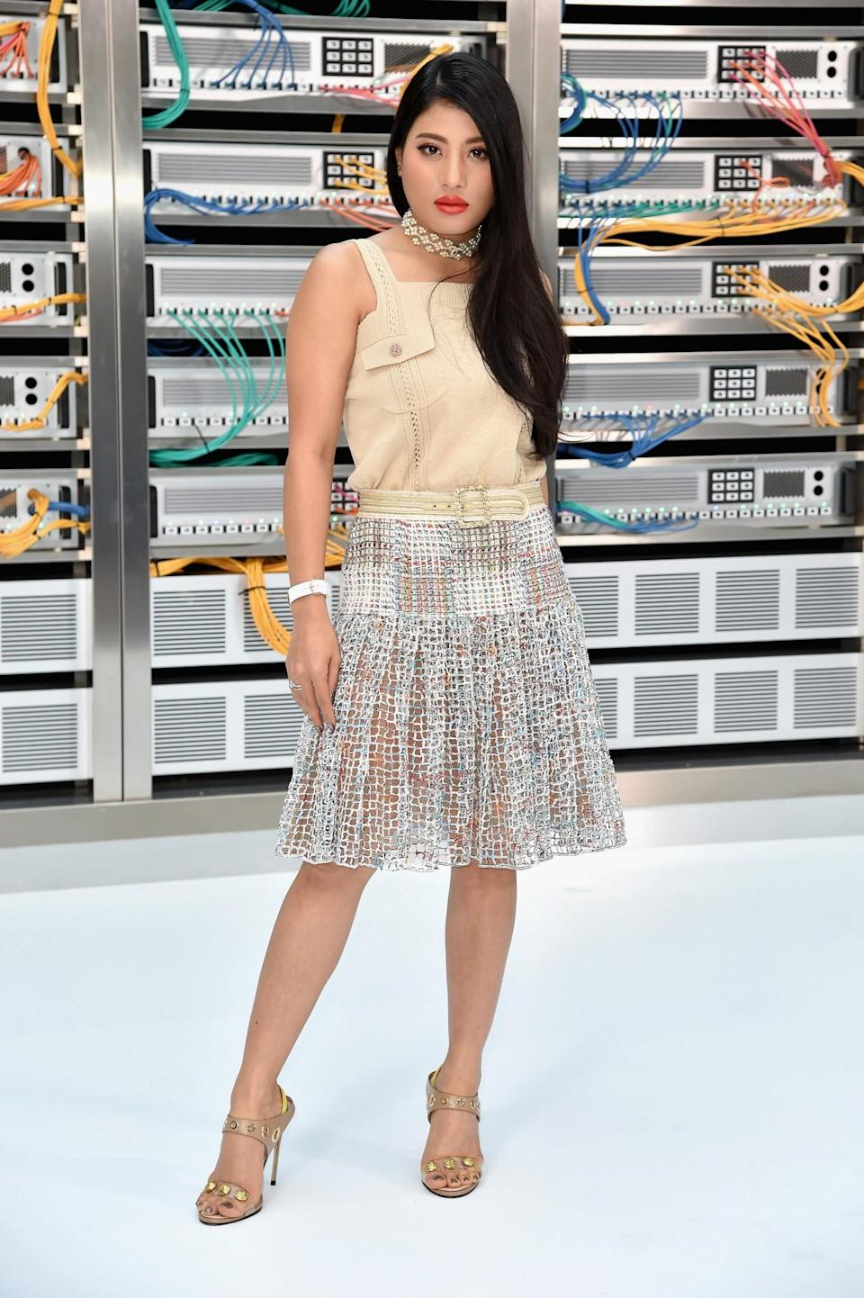 <p>Thailand's only princess can often be spotted front row at Paris Fashion Week. A lover of both Chanel and Dior, her trademark look is a fresh-off-the-runway design paired with a bold red lip. <i>[Photo: Getty]</i> </p>