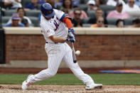 New York Mets' Pete Alonso hits a two-run home run in the sixth inning against the Toronto Blue Jays during a baseball game Sunday, July 25, 2021, in New York. (AP Photo/Adam Hunger)