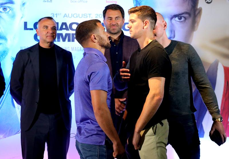 Vasyl Lomachenko (left) and Luke Campbell during the press conference at Glaziers Hall, London. (Photo by Aaron Chown/PA Images via Getty Images)