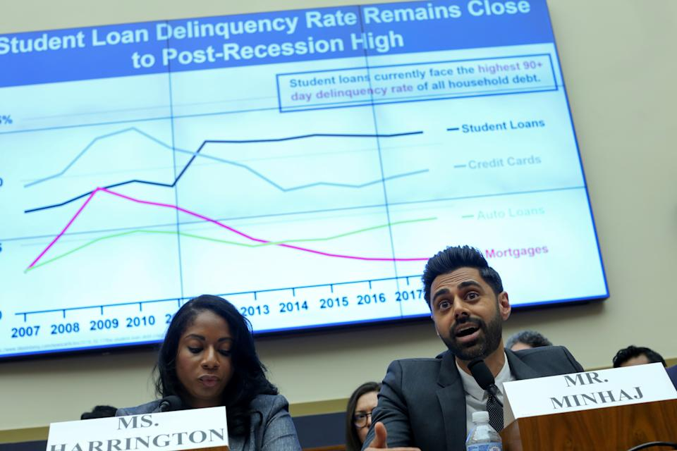 Center for Responsible Lending Senior Policy Counsel Ashley Harrington and comedian Hasan Minhaj testify during a House Financial Services Committee hearing on student debt and student loan servicers, on Capitol Hill in Washington, U.S. September 10, 2019.  REUTERS/Jonathan Ernst