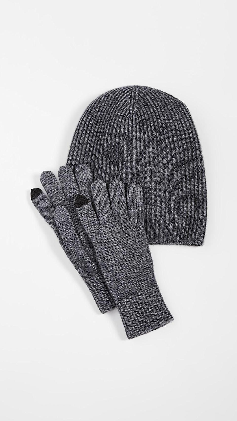 <p>Get all your winter essentials with this <span>Naadam Hat and Gloves Set</span> ($195).</p>